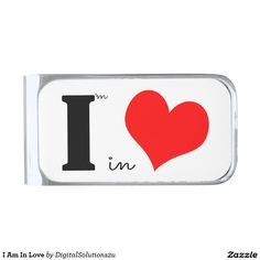 I Am In Love Silver Finish Money Clip