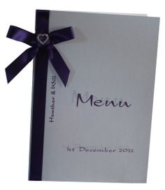White and Cadbury Purple wedding Menu with silver toned diamante heart on bow www.lilguy.co.uk