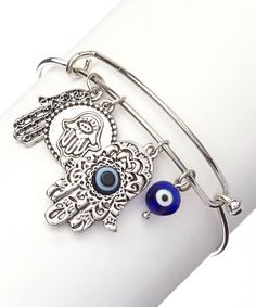 Silver Hamsa and Evil Eye Charm Bracelet