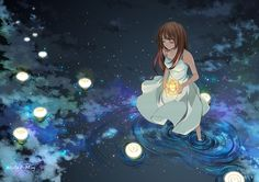 anime girl in water with candles