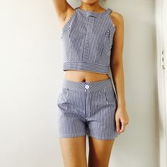 Blue Stripe Crop Top and Shorts Side zipper for the crop top. Both polyester fabric. Brand new. Tops Crop Tops