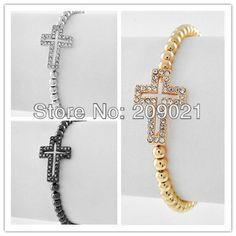 Hot! Fashion Handmade 10pcs plated-Gun Black/Silver/Gold Sideways Rhinestone Crystal Connector Cross Bracelet Finding on AliExpress.com. $16.89