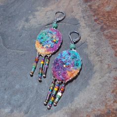 beaded and embroidered felt jewelry