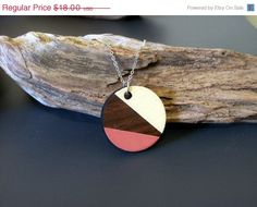 ON SALE Circle hand painted laser cut wood pendant by JewelRiot, $13.50