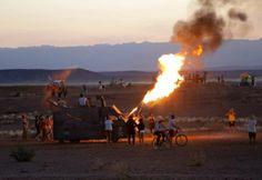 Flamethrowers in Tankwa, South Africa. AfrikaBurn courtesy of EPA Photos/Kim Ludbrooke