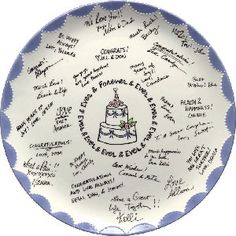 Instead of a boring, white sign-in book sitting by the door where guests can scribble their names, you can do something entirely different for your wedding. Guests can sign a large porcelain platter with paint markers.