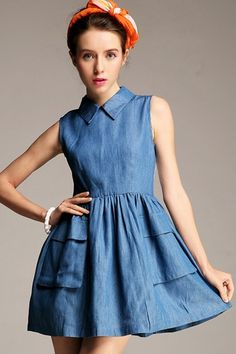 The denim dress featuring pleated skirt with patched pockets, embroidered panel at the back. Jeans Dress, Dress Skirt, Dress Up, Vintage Denim, Dress Outfits, Casual Dresses, Denim Dresses, Estilo Jeans, Peter Pan Collar Dress