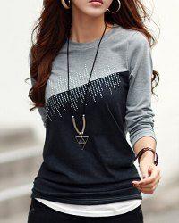 Informal Jewel cuello en color Diamantes de empalme de la camiseta para las mujeres