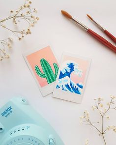 I painted some damaged polaroids to make them look prettier 🌵🌊 ___________.,I painted some . - Informations About I painted some damaged polaroids to make them look prettier 🌵🌊 ___________ - Cute Canvas Paintings, Small Canvas Art, Mini Canvas Art, Diy Canvas, Painting Canvas, Aesthetic Painting, Aesthetic Drawing, Aesthetic Art, Aesthetic Vintage