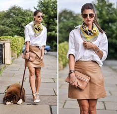Gap Boyfriend Shirt, Leather Skirt, Zara Heels, Kurt Geiger Clutch, Pets Pyjamas Boston Terrier Scarf
