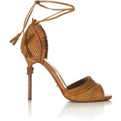 Sergio Rossi Kalhari Woven Sandal ($440) ❤ liked on Polyvore featuring shoes, sandals, heels, modaoperandi, sapatos, malto passion, high-heel gladiator sandals, woven leather sandals, open toe sandals y high heel shoes
