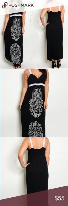 Black & white Plus size Maxi dress Plus Size black and white spring /summer maxi dress Are you ready to knock em out with this beauty? Show up and be the show stopper! Smocking elastic at the upper back adds detail to the black back, the front adorned with a fun print and empire waistline drawing attention and creating some sexy curves! You will love this dress and want to wear it dressed up or dressed down! ✅I ship same or next day ✅Bundle for discount Dresses Maxi