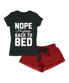 Red & Black 'Back To Bed' Lounge Set - Women #zulily #zulilyfinds