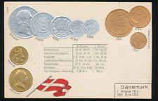 Dänemark Denmark  Ansichtskarte  Prägekarte  Münzen   Silber + Gold   Öre Krone