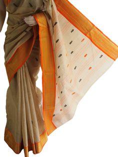 Beige & Orange Pure Bengali Taant Saree