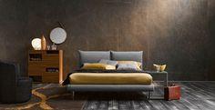 aménager la chambre à coucher contemporaine avec un lit design en gris et jaune