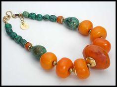 30% OFF - TIBETAN SUNRISE - Handmade Tibetan Amber - Turquoise - 1 of a Kind Statement Necklace