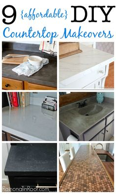 Great DIY countertop makeovers that are doable and affordable - inlcudes links to each makeover with detailed tutorials!
