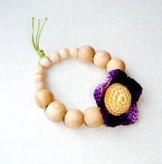 Teething ring Baby wood teether Dark Violet by MiracleFromThreads, $15.00