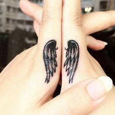 Sister Bond Finger Tattoo Design.