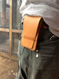Leather iPhone Case with Belt Loop, Pocket and Cover Flap that was Handmade with Hand Stitching and Leather with Natural Color