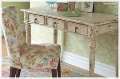 Lovin' this floral fabric - and the distressed painted desk is pretty close to what I'm after...
