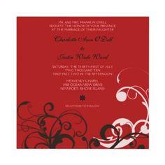 flourish; red wedding personalized invitation by DreamLiveLoveLaugh