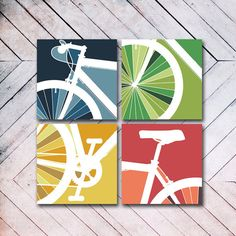 4 Panel Bike Canvas Art via Etsy. Canvas Art, Canvas Prints, Art Prints, Mini Canvas, Photo Canvas, Poster Photo, Art Watercolor, Bicycle Art, Bicycle Tattoo