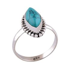 Sterling silver and Turquoise ringRing height measures approx. 15mmSize small (US 6 or UK L 1/2)Size medium (US 6 3/4 or UK N)Size large (US 8 or UK P 1/2)