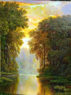 Atardecer Majico Oleo sobre lienzo Fantasy Landscape, Landscape Art, Landscape Paintings, Oil Painting Pictures, Cute Cottage, Beautiful Nature Wallpaper, Beautiful Waterfalls, Nature Paintings, Pretty Pictures