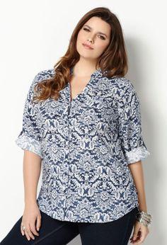 Soft Printed Shirt-Plus Size Shirt-Avenue