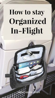 No more digging under your seat or overhead bin. Have everything you need right in front of you with Great Useful Stuff's in-flight organizer! Padded tablet pocket hook & loop cord holders and plenty of pockets for ear buds cords and snack bars. Packing Tips For Travel, Travel Essentials, Airplane Essentials, Traveling Tips, Best Travel Bags, Travel Bag Essentials, Packing Cubes, Packing Lists, Travelling
