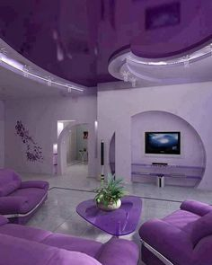 purple living room decorations with modern purple furniture, purple . Interior Exterior, Modern Interior, Exterior Design, Purple Home, Salons Violet, Purple Furniture, Luxury Furniture