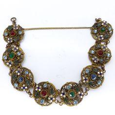 Vintage Art Deco Czech Neiger Brothers Filigree Ornate Floral Paste Panel Bracelet | Clarice Jewellery | Vintage Costume Jewellery