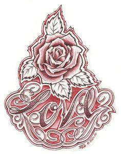 chicano flash art | Chicano Rose Tattoo Flash Art Pic #22