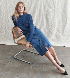Crew for the Button-fly cargo denim skirt in medium indigo wash for Women. Find the best selection of Women Skirts available in-stores and online. Cable Knit Sweaters, Cashmere Sweaters, Blue Fashion, Fashion Brand, Crew Clothing, Fashion Images, Mock Neck, Style Guides, Denim Skirt