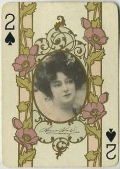 Anna Held~ 2 of spades ~ Art Nouveau playing card...