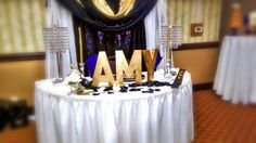 Purple Gold Black and White Bridal Shower Decor for Miss Amy