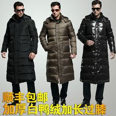 Hot Sale Men's Full Length Winter Hooded Duck Down Jacket Long Puffer Coat Parka Puffer Jackets, Winter Jackets, Long Puffer Coat, Duck Down Jacket, Winter Coat, Parka, Hoods, Black And Grey, Men