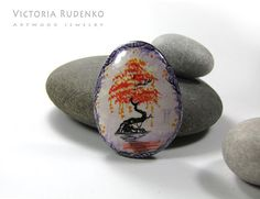 Painted Sea Stone Paper Weight Unique Collectible Rock Wishing Tree Meditation Desire Tree Spirit Of Forest Painted Rock Beach Pebbles Art