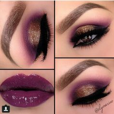 Sexy deep burgundy with gold look