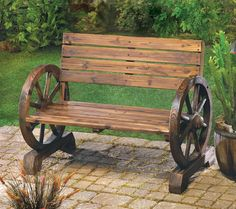 Rustic Garden Decor   Wagon Wheel Bench Rustic Bench Garden Decor at Home on Patio Porch or ...
