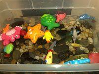 watertafel, vullen met schelpen, stenen, water en plastiek vissen en andere zeedieren