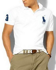 13c7e75fe520 Ralph Lauren Custom Fit Big Blue Pony Polo Shirt White http   www.