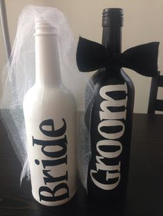 Bride and Groom Painted Wine Bottles Bride and by KeepCalmWineOn