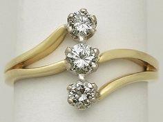 Contemporary Diamond, 18 k Yellow Gold Dress Ring Art Nouveau Style #ArtNouveau