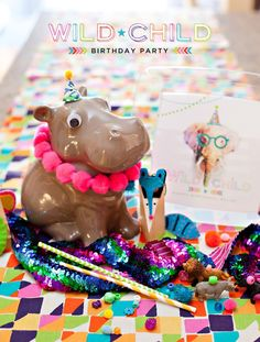 Wacky & Wild Animal Birthday Party with lots of bright colors and modern style