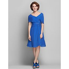 A-line Plus Sizes Mother of the Bride Dress - Royal Blue Knee-length Short Sleeve Chiffon – USD $ 89.99