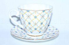 Russian Imperial Lomonosov Porcelain Tea cup and saucer Retro LFZ RARE 22k Gold