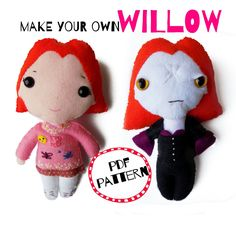 I DIE FROM CUTE! Handmade felt Doppelgangland Willow - Buffy the Vampire Slayer by bettyoctopus on Etsy Willow Buffy, Make Your Own, How To Make, Buffy The Vampire Slayer, Handmade Felt, Hello Kitty, Dolls, Christmas Ornaments, Holiday Decor